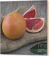 Pink Grapefruit Wood Print