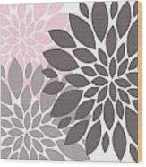 Pink Gray Peony Flowers Wood Print