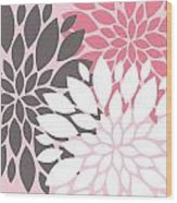 Pink White Grey Peony Flowers Wood Print