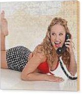 Pinup Girl On The Phone Wood Print