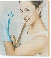 Pinup Housewife Flexing Muscles. Cleaning Strength Wood Print