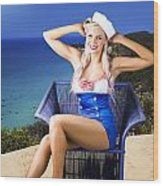 Pinup Woman On A Tropical Beach Travel Tour Wood Print