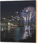 Pittsburgh Fireworks At Night Wood Print