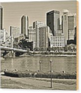 Pittsburgh In Sepia Wood Print