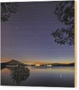Planetary Conjunction Reflections At The Lake Mercury And Venus Wood Print