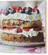 Plate Of Fruit And Cream Cake Wood Print
