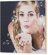 Playful Bride Blowing Bubbles At Wedding Reception Wood Print