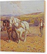 Ploughing Wood Print by Joseph Harold Swanwick