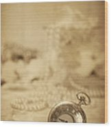 Pocket Watch Wood Print by Amanda Elwell