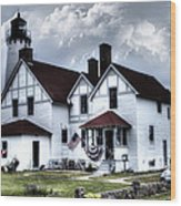 Point Iroquois Lighthouse Michigan Wood Print
