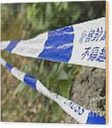 Police Do Not Cross Tape Wood Print