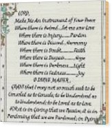 Pope Francis St. Francis Simple Prayer For Peace Wood Print