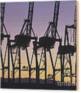 Port Of Seattle Cranes Silhouetted Wood Print