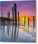 Port Willunga Sunset Wood Print