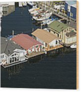 Portage Bay And Houseboats, Seattle Wood Print