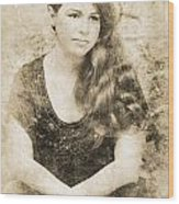 Portrait Of A Vintage Lady Wood Print