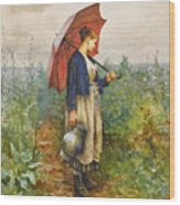 Portrait Of A Woman With Umbrella Gathering Water Wood Print