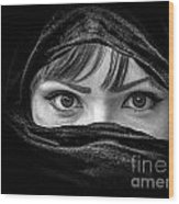 Portrait Of Beautiful Arab Woman With Brown Eyes Wearing Black S Wood Print
