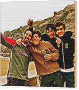Portuguese Teens Wish A Happy New Year In Nazarre-portugal  Wood Print