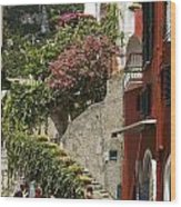 Positano Street Scene Wood Print