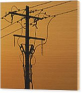 Power Line Sunset Wood Print