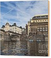 Prague From Vltava Wood Print