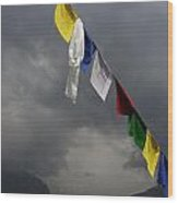 Prayer Flags Stormy Day Wood Print