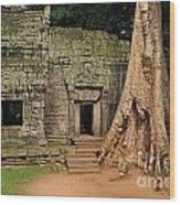 Preah Khantemple At Angkor Wat Wood Print