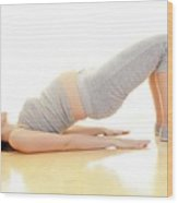 Pregnant Woman Doing Yoga Wood Print