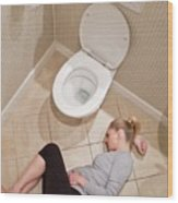 Pregnant Woman Lying On Bathroom Floor Wood Print