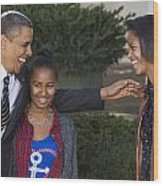 President Obama And Daughters Wood Print by JP Tripp
