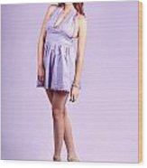 Pretty Brunette Pin Up Woman In Purple Dress Wood Print