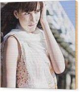 Pretty Young Fashion Model Wood Print