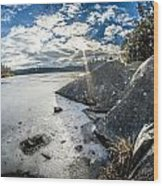 Price Lake Frozen Over During Winter Months In North Carolina Wood Print