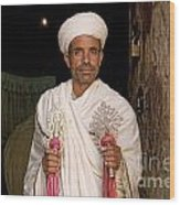Priest At Ancient Rock Hewn Churches Of Lalibela Ethiopia Wood Print