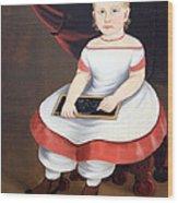 Prior Hamblin School's Little Girl With Slate Wood Print