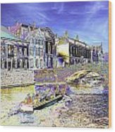 Psychedelic Bruges Canal Scene Wood Print