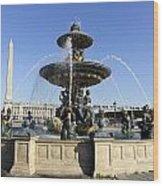 Public Fountain At The Place De La Concorde In Paris France Wood Print