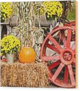 Pumpkins Next To An Old Farm Tractor Wood Print