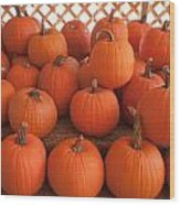 Pumpkins On Pumpkin Patch Wood Print