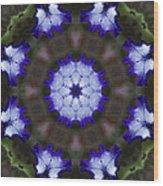 Purple Iris Kaleidoscope Wood Print