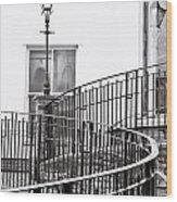 Railings And Lamp Wood Print