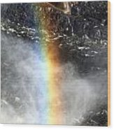 Rainbow And Falls Wood Print