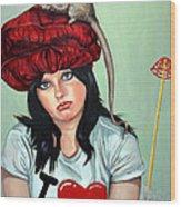 Rat Hat Wood Print by Shelley Laffal