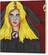 Raven Yellow Hair Wood Print