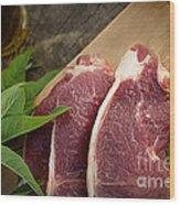 Raw Meat Wood Print