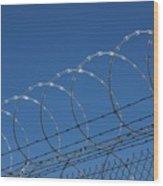 Razor Wire Fence In Las Vegas Wood Print