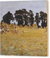Reapers Resting In A Wheat Field Wood Print