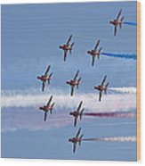 Red Arrows Flying In Formation Wood Print