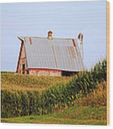 Red Barn Corn Field Wood Print